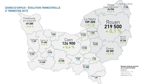 Emploi au 4e trimestre 2017 : environ 1 300 nouveaux emplois en Normandie