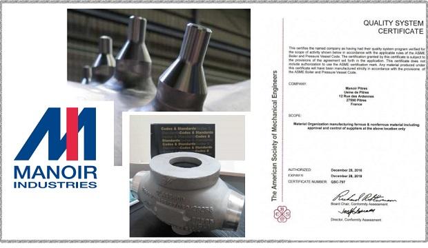 Manoir Industries : Certification nucléaire ASME III