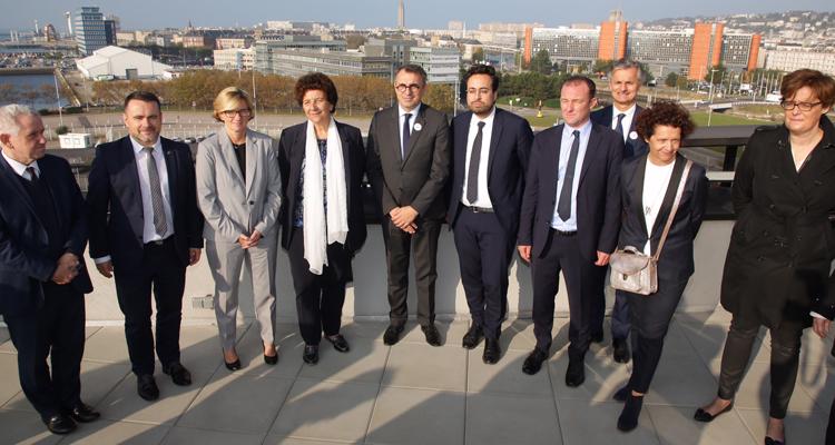 Visite ministérielle pour l'EM Normandie et la Cité Numérique au Havre (©Philippe BREARD – Ville du Havre