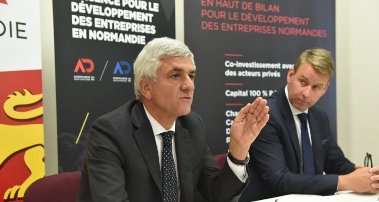 Hervé Morin, Président de la Région Normandie, et Tim Cornélius, CEO de la société Atlantis - Crédit photo : Biernacki / Région Normandie