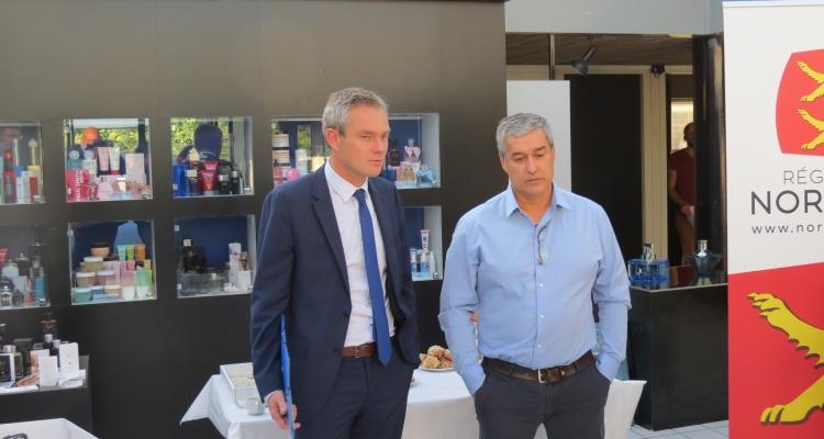 David Margueritte, vice-président de la Région Normandie, en charge de la formation et de l'apprentissage et Patrice Robert, directeur du site normand de Jacomo