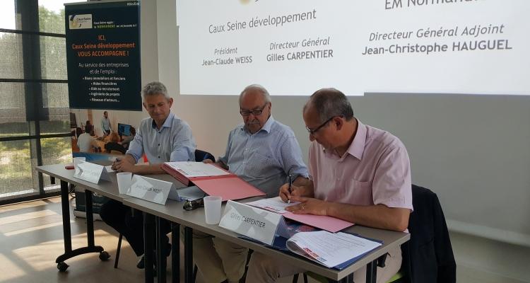 Caux Seine développement et l'EM Normandie s'associent pour développer des actions en faveur de l'attractivité et du développement économique