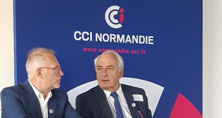 Pierre Goguet, président de CCI France en Normandie aux côtés de Gilles Treuil