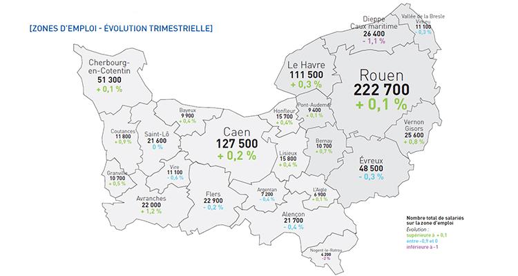 L'emploi continue sa progression en Normandie au 2e trimestre 2019, mais de manière moins dynamique