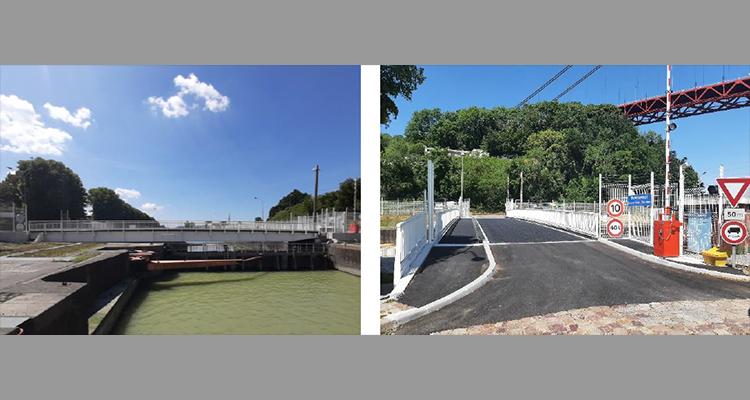 Tancarville : mise en service du nouveau pont piéton / routierde l'ancienne écluse