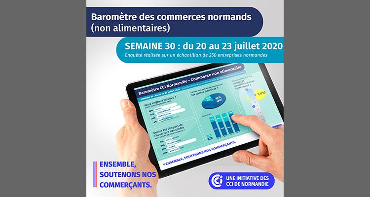 COVID-19 : baromètrede situation pour le commerce non alimentairepar les CCI de Normandie – 5ème semaine d'enquête – Point de situation semaine du 20 au 23 juillet