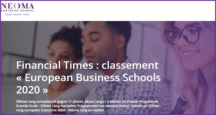 NEOMA gagne 11 places dans le classement du Financial Times « European Business Schools 2020 »