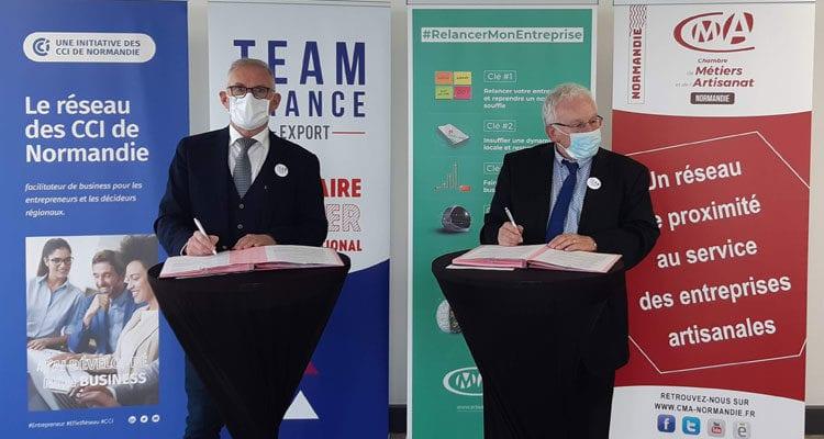 La CMA Normandie et la CCI Normandie, membre fondateur de la Team France Export Normandie, formalisent aujourd'hui un partenariat opérationnel sur le volet internationalisation des entreprises